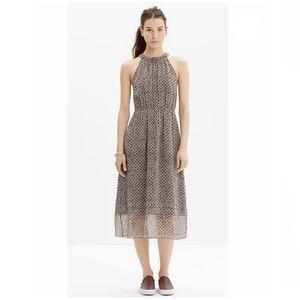 Madewell Silk Midi Dress in Diamond Tile Size 2